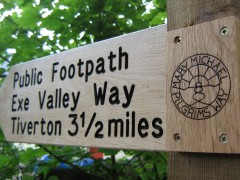 Way mark at Bickleigh Mill
