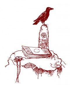 crow, map and compass
