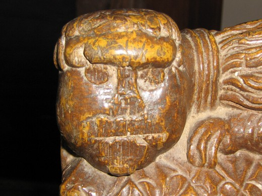 Lion bench carving, Upton Helions church