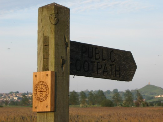 Way mark near Glastonbury
