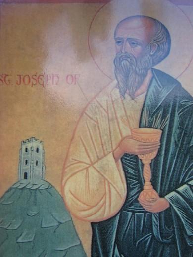 Icon of Joseph of Arimathea with Grail at Glastonbury