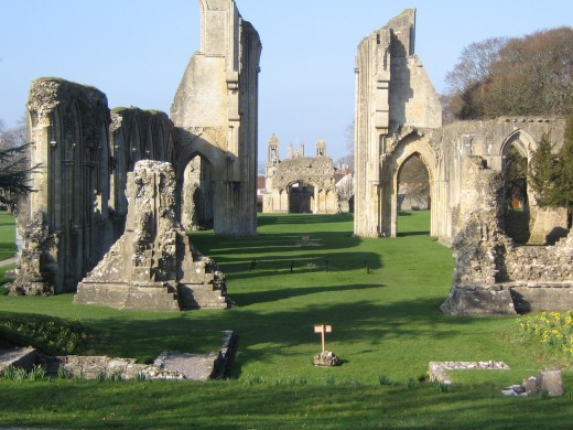 Glastonbury Abbey from alter looking down the nave.