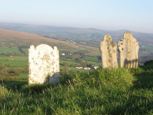 Brentor churchyard, view over Dartmoor