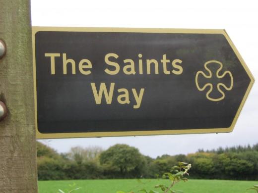 Finger Post where our route meets Saints Way