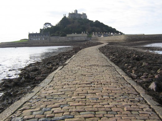 Along the causeway approaching St Michael's Mount