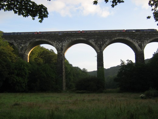 Early train, viaduct at Trenowth