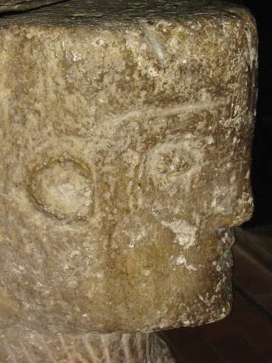 One of the Archangel's on the font at Tregony