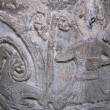 Christ as dragon slayer, carved font, Avebury church